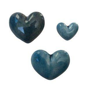 Vintage Blue Puffy Glaze Clay Heart Brooch